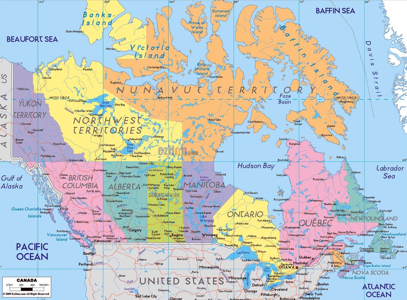 Amerika Gradovi Karta.Kanada Kartica S Imenima Gradova Detaljna Karta Kanade Sa