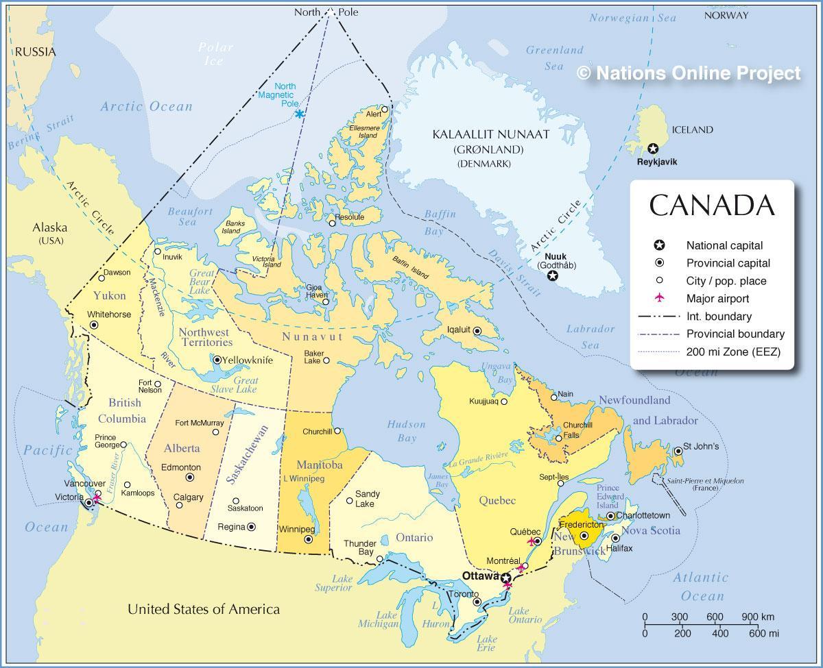 Amerika Gradovi Karta.Karta Kanade Gradova I Provincija Karta Kanada Gradova I Pokrajina