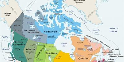 Kanada Karta Svijeta.Karta Kanade Kartice Kanade Sjeverna Amerika Juzna Amerika
